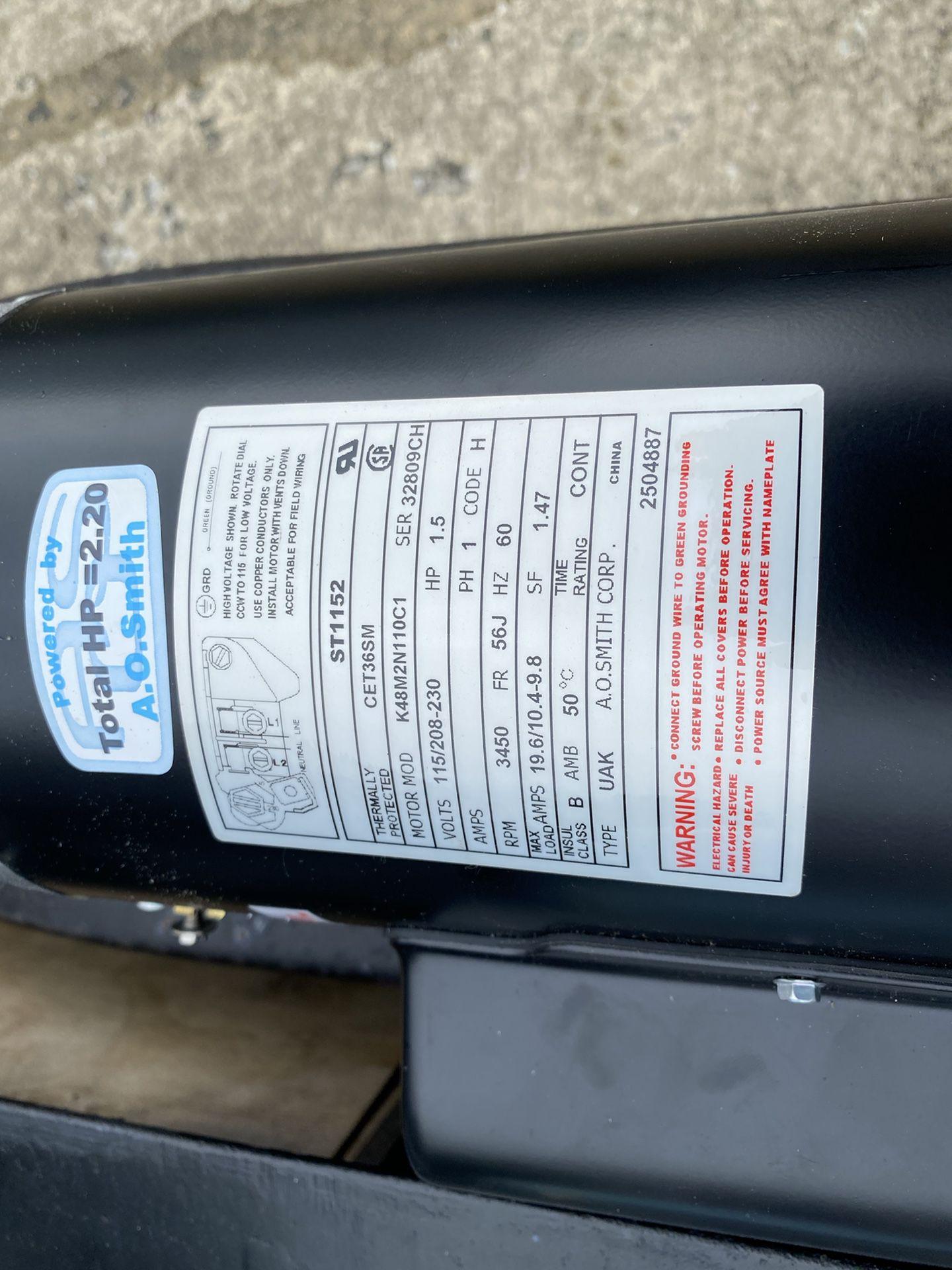Pool pump motor. A O. Smith. 1.5hp. Brand new