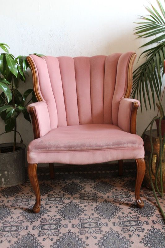 Beautiful Pink Vintage Velveteen Channel Back Chair Mid Century ...