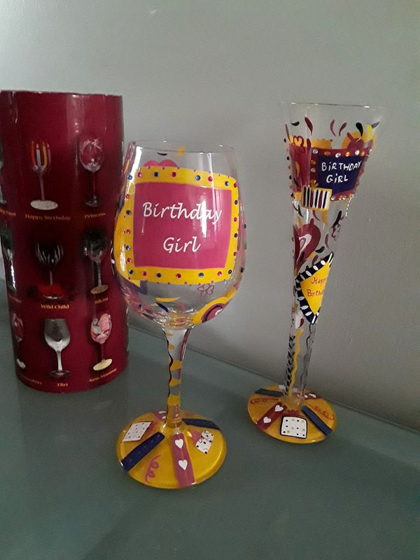 Lolita Hand Painted Birthday Wine Glass Champagne Set