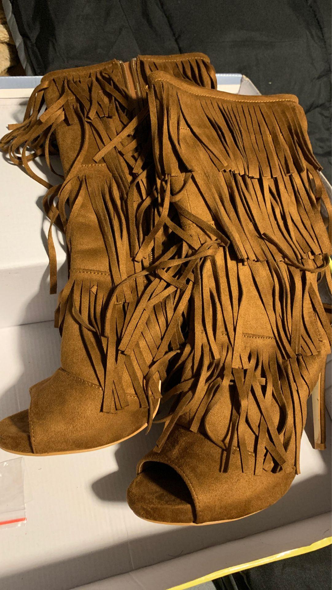 Fringe booties Size 9
