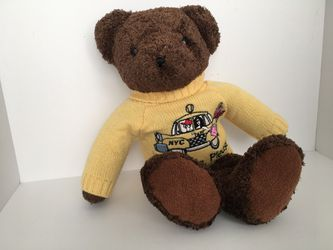 """RARE Bestever """"Bloomie's Please"""" Bloomingdales NYC Taxi Brown Teddy Bear Thumbnail"""