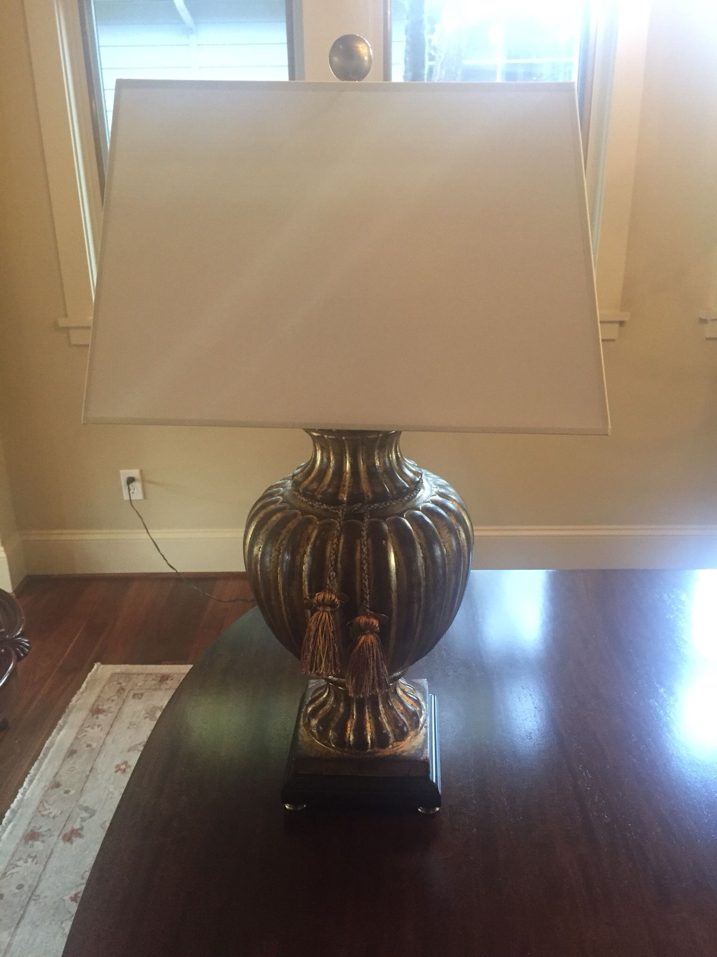 """Wildwood table lamp from Seldens Home Furnishings. 31"""" tall. Cream shade"""