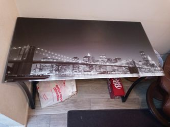 Glass Top Brooklyn Bridge Computer desk  Thumbnail