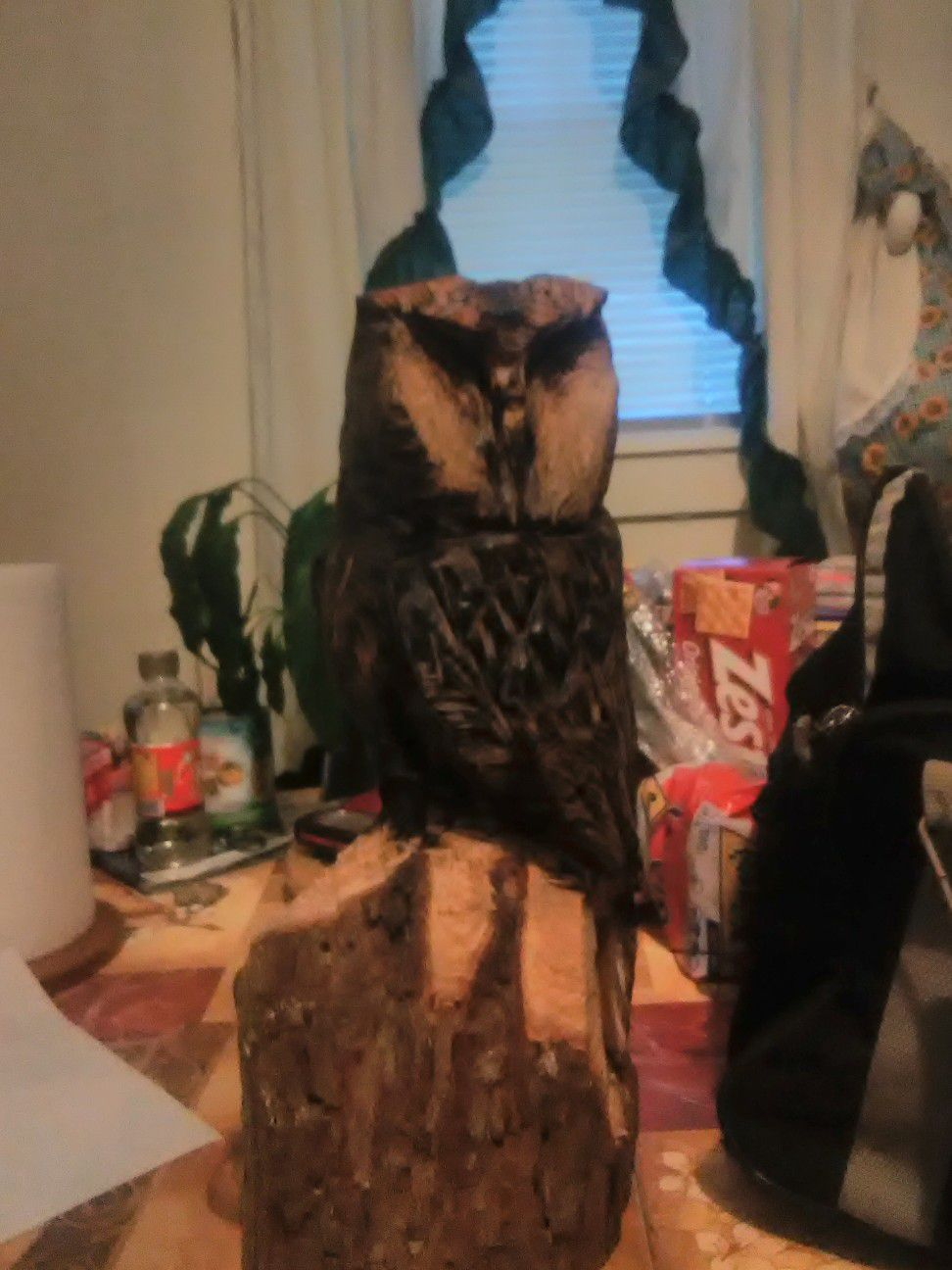 Chainsaw carving of owl
