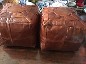 Moroccan ottoman new never used real leather for Sale in Miami, FL