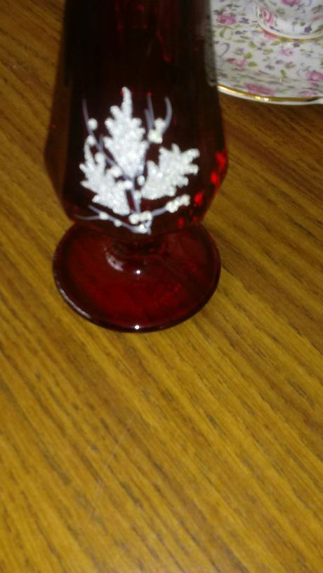 Fenton Red Glass Vase Painted By Freda Hubbard Household In North