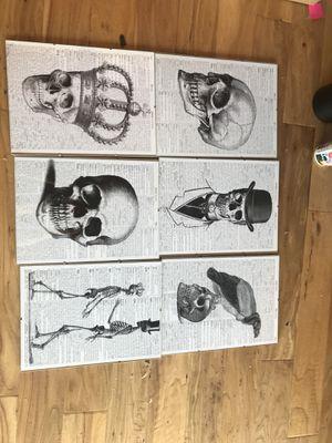 6 skeleton print photos in glass frames for Sale in Scottsdale, AZ