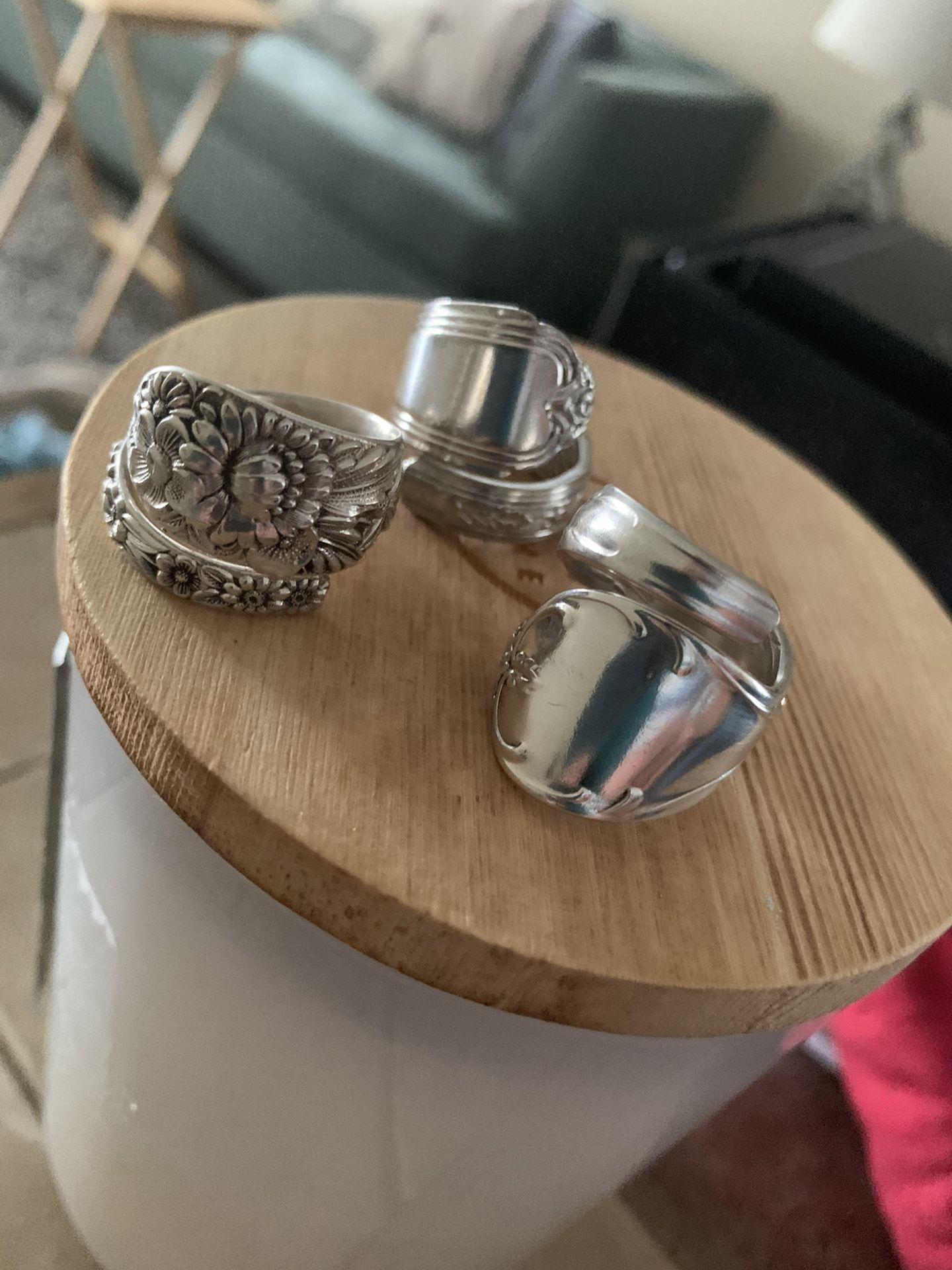 Silver spoon rings
