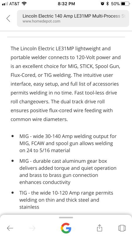Lincoln Electric 140 Amp LE31MP Multi-Process Stick/MIG/TIG Welder ...