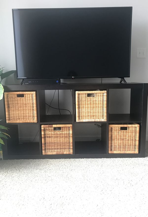 Tv Stand Book Stand Plus Storage Baskets Can Stand Vertical Or