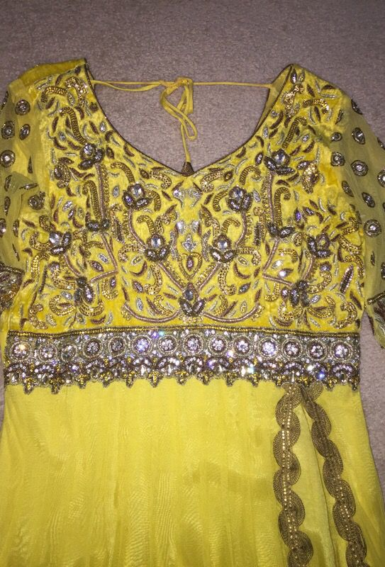 Yellow stone work party dress