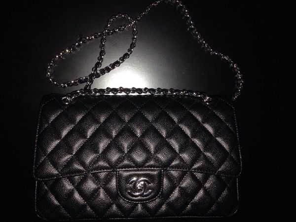 fdfbb7a45f3122 Chanel jumbo size black caviar double flap bag silver for Sale in ...