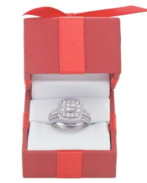 Photo 1CT genuine white diamond 10K white gold bridal set - brand new - $2124.98 - size 9
