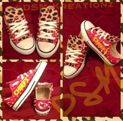 62224414f73e1 Custom Designed KANSAS CITY CHIEFS Converse with Leopard Print & Spikes for  Sale in Stafford, VA - OfferUp