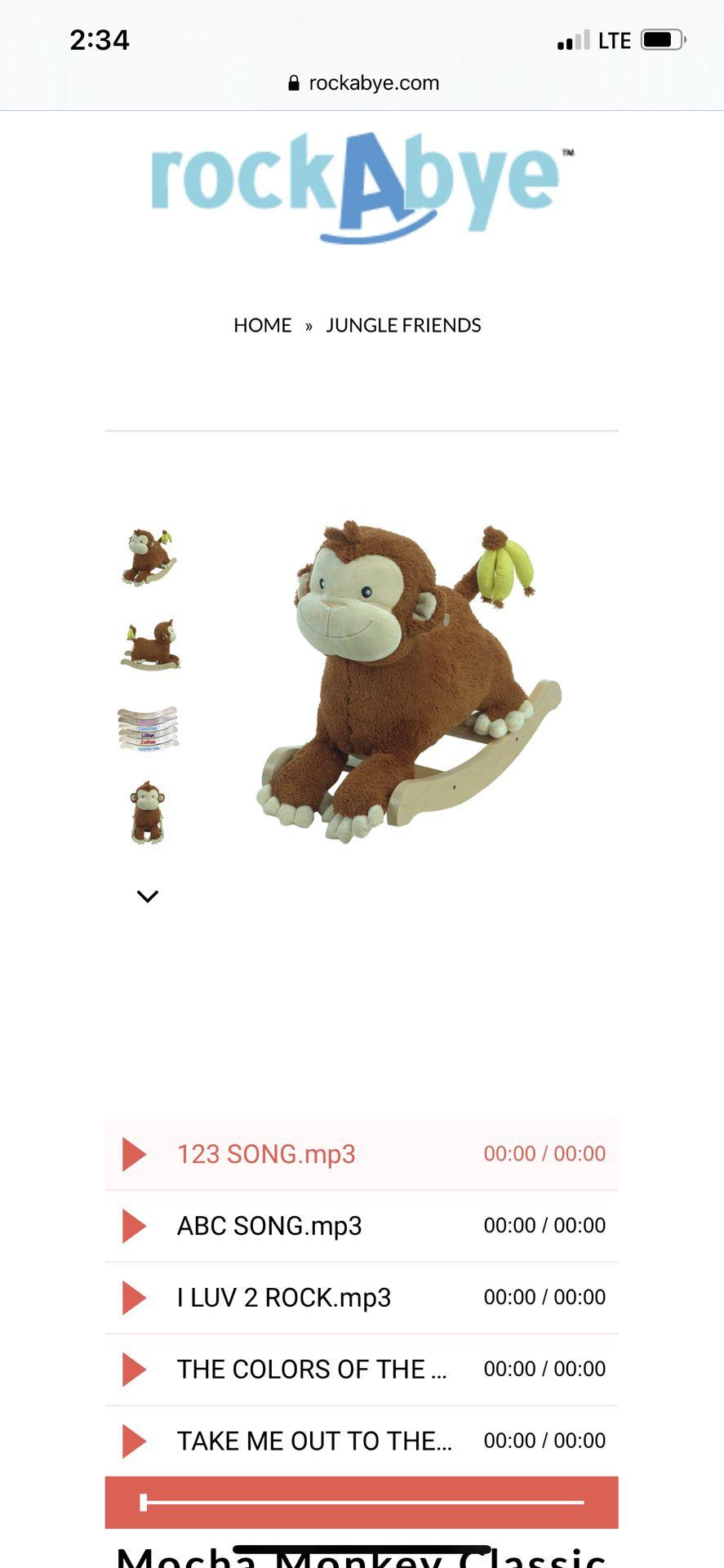 Rockabye Mocha Monkey Rocker Musical (Good condition)