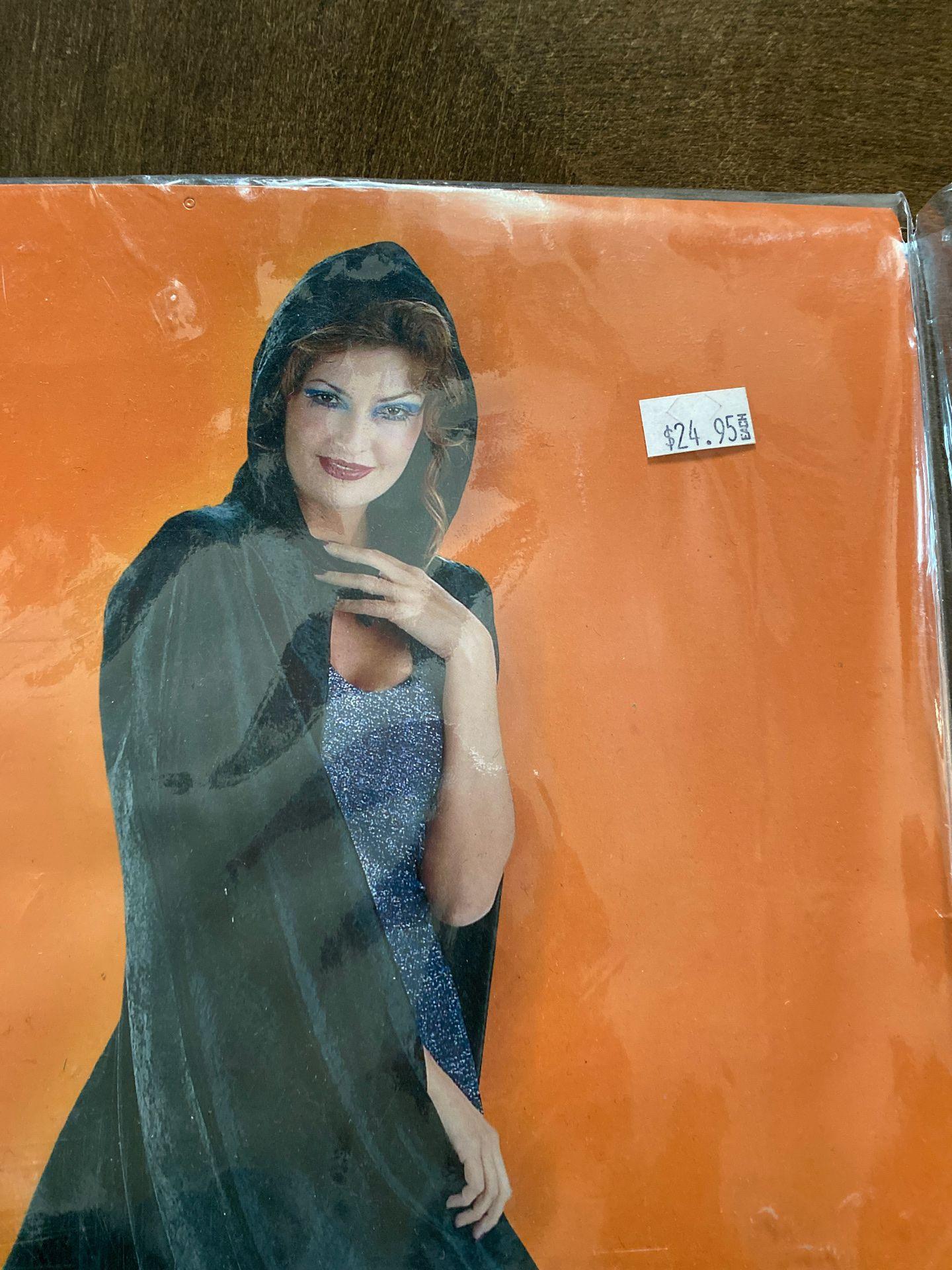 Black Panne Velvet hooded cape