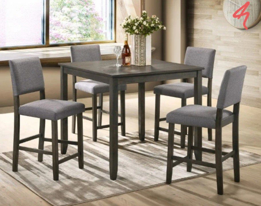 Sameday Delivery/🐣Derick Gray 5-Piece Counter Height Set