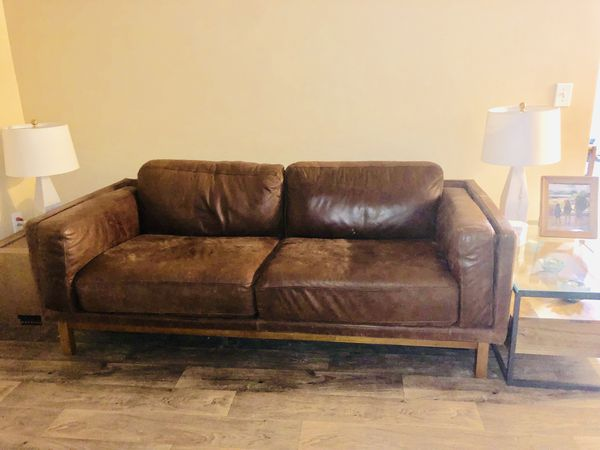 West Elm Leather Sofa For In