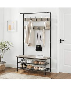 """Coat Shoe Rack Hall Tree with 9 Hooks, Steel Frame Pipe Style, 39.4"""", Greige Thumbnail"""