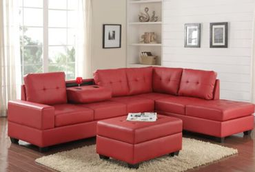 [HOT DEAL] 💫Heights Red Faux Leather Reversible Sectional with Storage 💫Ottoman Thumbnail