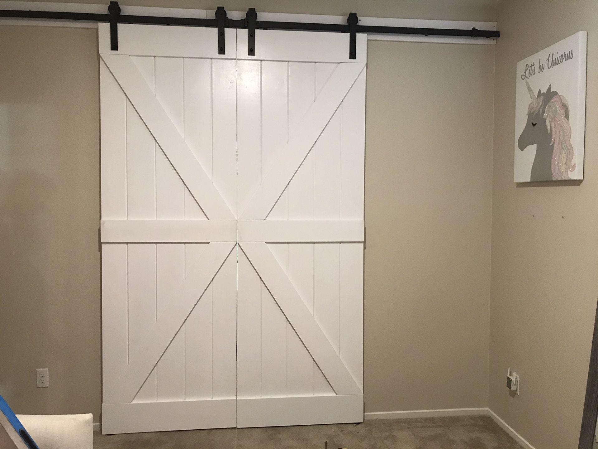 Customize barn door with hardware