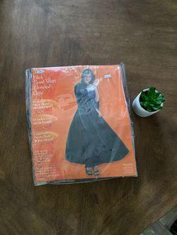 Black Panne Velvet hooded cape Thumbnail
