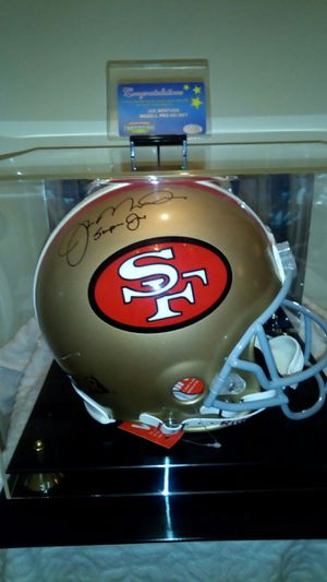 Photo JOE Montana sighned inscribed  super Joe  riddle pro line helmet in mirrored display case with certificate of authinticity