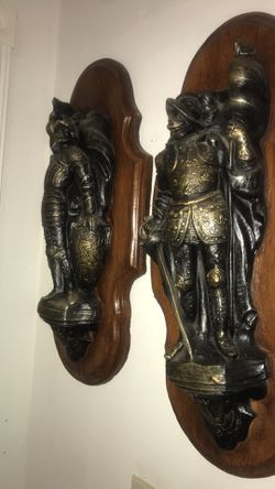 Set Of Two Beautiful Wood And Metal Antique Statue  Thumbnail