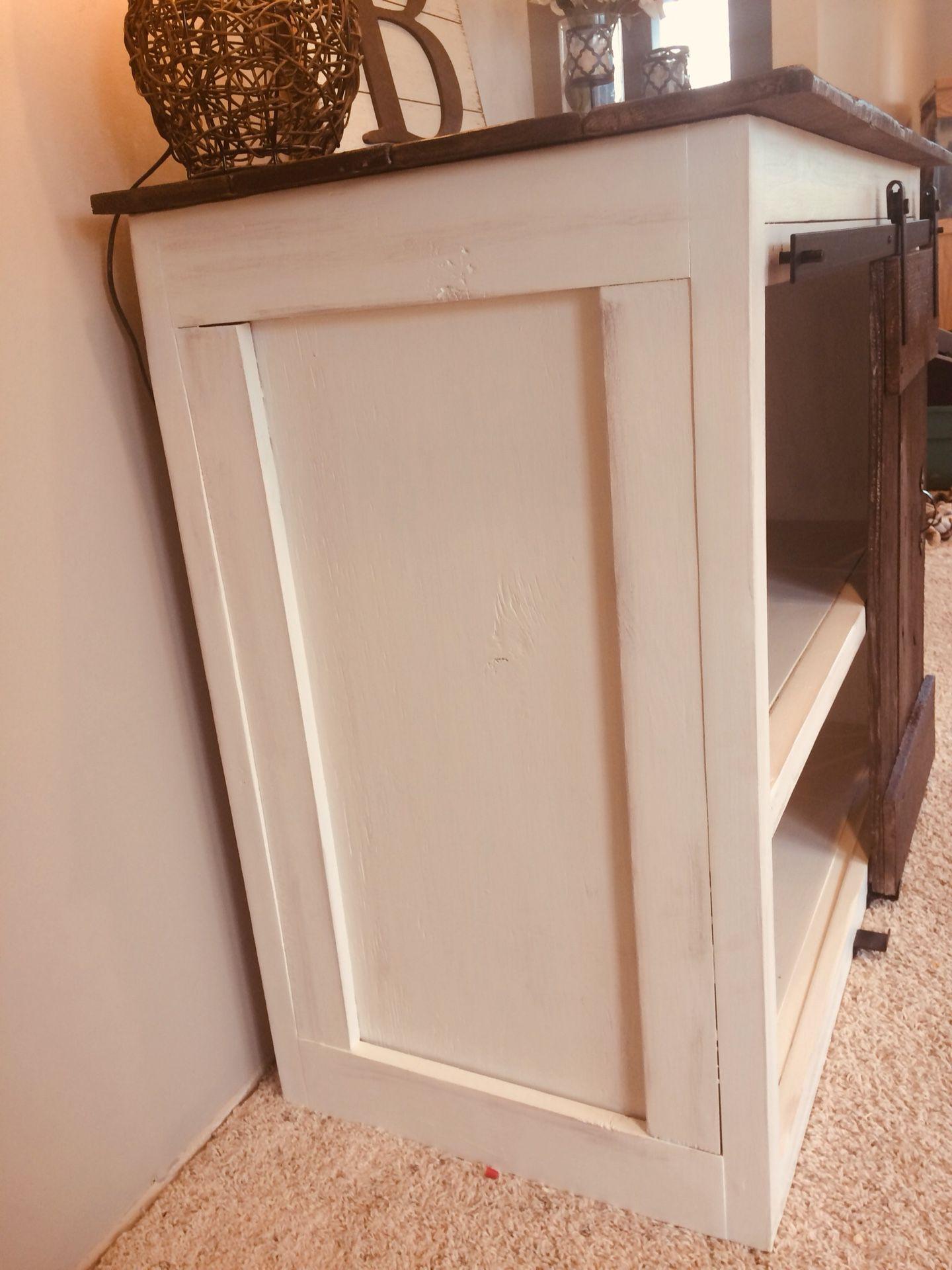 Rustic barn wood w/sliding barn wood door entertainment center/vanity/dresser/extra storage