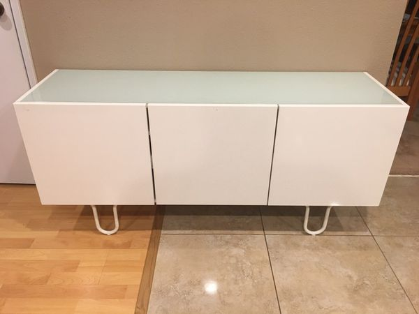 Ikea Storage Credenza : Ikea finnby white gloss glass top tv stand credenza side