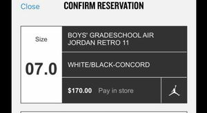 Size 7y BigKidsTICKET FOR CONCORD 11s Release 12/8/18 for Sale in Washington, DC