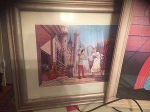 Disney princess photo collection frame with matching princess lamp .beautiful decor for your princess room.. for Sale in Rockville, MD
