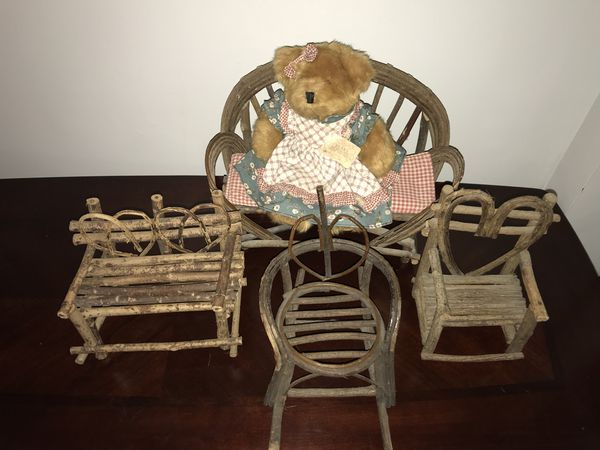 Bent Twig Rustic Doll Chairs Loveseat Heart Back Home Garden In Largo FL