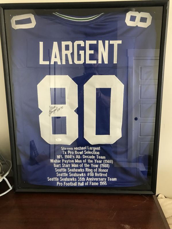 Autographed Hof Steve Largent Jersey In Its Own Display Case Jsa Certified