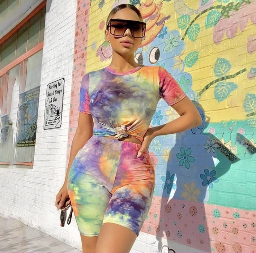 Women Summer Casual Set Tie Dye Streetwear Female 2 Piece Outfits
