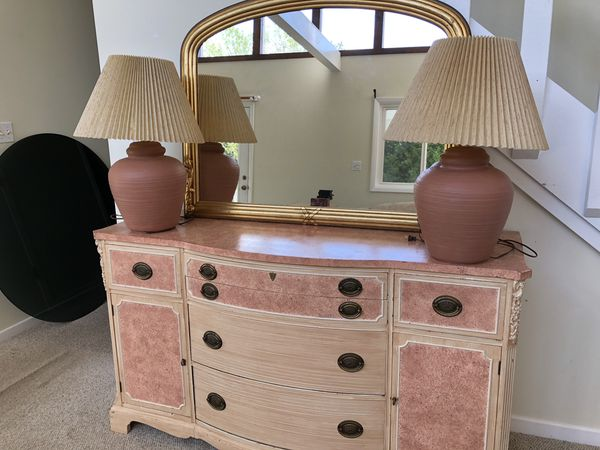 Antique Buffet With Mirror >> Antique Buffet And Mirror And 2 Terra Cotta Lamps For Sale In