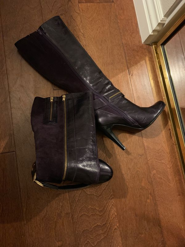 Purple With Gold Leather Boots Size 6 5 For Sale In Las