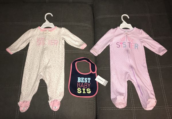 ad282f9192 Carters pajamas NEW bib LITTLE SISTER baby GIRL 6-9 months. Gilbert ...