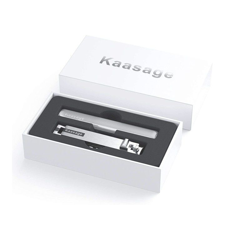 Kaasage Nail Clipper and File - Wide Open Stainless Steel Nail Cutter with Glass Nail File Manicure Set