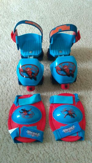 Spiderman adjustable roller skates and pads for Sale in Vienna, VA