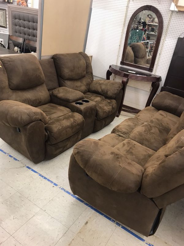 Very nice Reclining Microfiber Suede Brown Couch and Loveseat