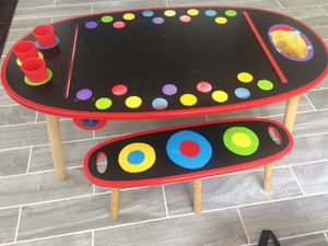 Kids wooden activity table, chalk top or paper roll holding for Sale in North Potomac, MD