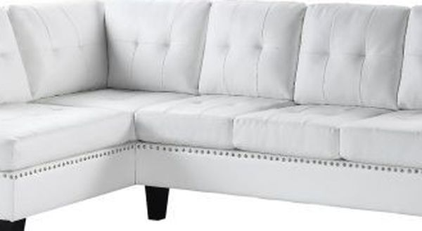 White Bonded Leather Sofa Sectional Couch No Credit Check No Credit needed Apply Today