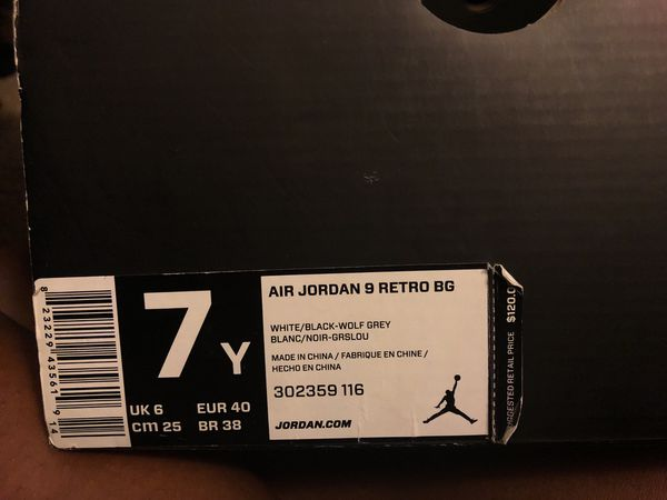 4896e5aa82ff ... get air jordan retro 9s size 7y white black wolf grey clothing shoes in  bellflower ca