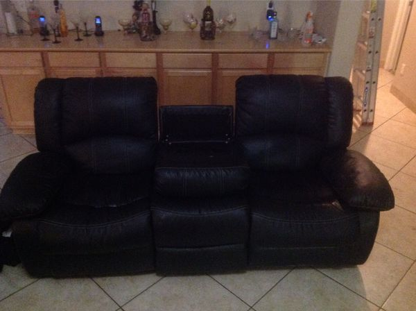 Black Leather Sofa Recliner With A Two Cup Holder Phoenix Az
