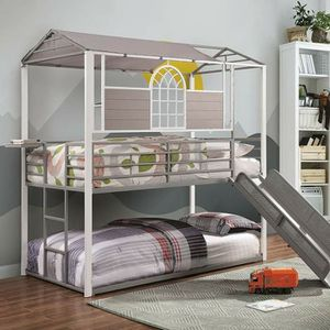 Photo GRAY WHITE FINISH HOUSE THEME SLIDE TWIN SIZE BUNK BED