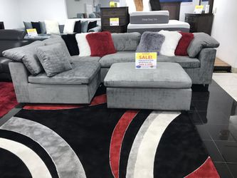 BEAUTIFUL GRAY MODULAR AND OTTOMAN. SAME DAY DELIVERY AND EASY FINANCING .  Thumbnail