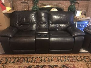 Brown leather 2-seat recliner sofa for Sale in Silver Spring, MD