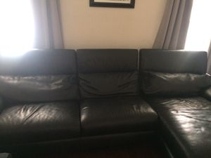 Black Italian Leather Sectional for Sale in Riverdale, MD