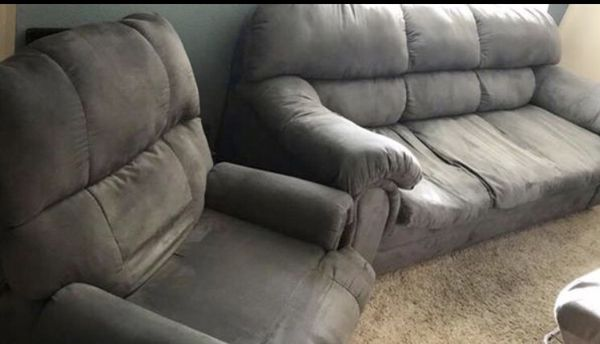 Gray Microfiber Couch And Matching Recliner For In Highlands Ranch Co Offerup